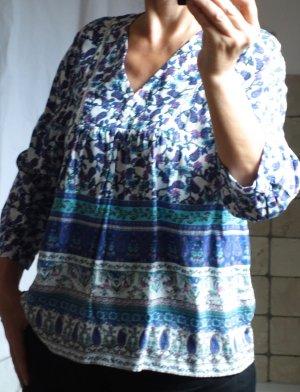 Esprit, süße Bluse mit floralem Muster, leicht, luftig, 3/4 Arm, Viskose, Empire, A-Linie, locker luftig, weiß royalblau pink rosa, TOP Zustand, Gr. 40, Gr. M