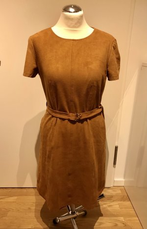 Esprit Vestido de cuero coñac-camel