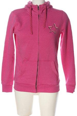 Esprit Sweatjacke pink-weiß Motivdruck Casual-Look
