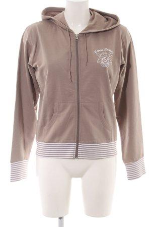 Esprit Sweatjacke braun-weiß Motivdruck Casual-Look