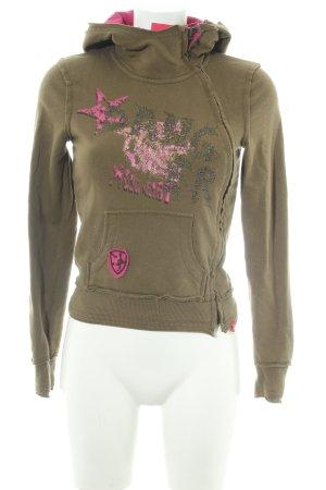 Esprit Sweatjacke khaki-pink Casual-Look