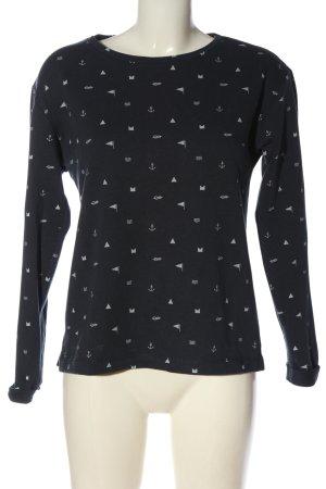 Esprit Sweatshirt blau-weiß Allover-Druck Casual-Look