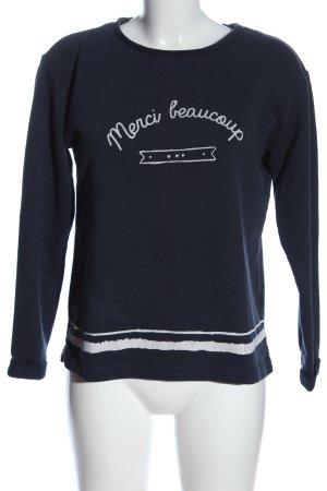 Esprit Sweatshirt blau-weiß Schriftzug gedruckt Casual-Look