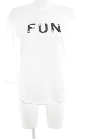 Esprit Sweatshirt wollweiß-schwarz Schriftzug gedruckt Casual-Look