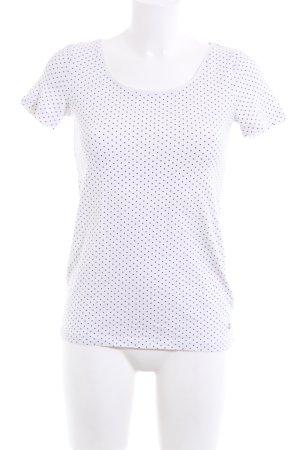 Esprit T-Shirt weiß-blau Punktemuster Casual-Look
