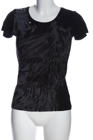 Esprit T-shirt noir-gris clair motif abstrait style décontracté