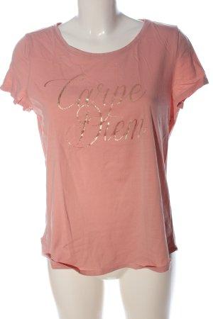 Esprit T-Shirt pink-goldfarben Schriftzug gedruckt Casual-Look