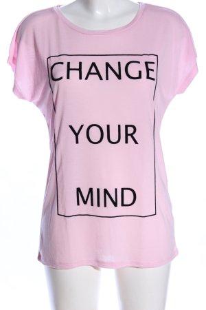 Esprit T-Shirt pink-schwarz Schriftzug gedruckt Casual-Look