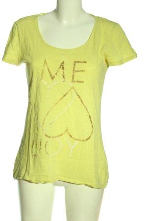 Esprit T-Shirt blassgelb Schriftzug gedruckt Casual-Look