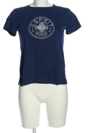 Esprit T-Shirt blau-weiß Motivdruck Casual-Look