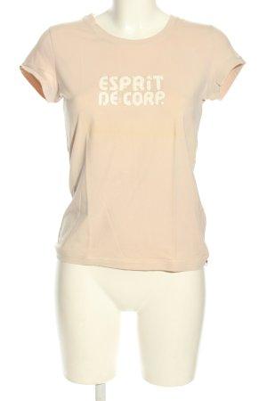 Esprit T-Shirt creme Schriftzug gedruckt Casual-Look