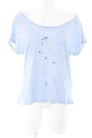 Esprit T-Shirt blau-weiß Schriftzug gedruckt Casual-Look