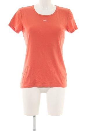 Esprit T-Shirt hellorange Schriftzug gestickt Casual-Look