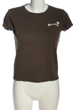 Esprit T-Shirt braun Schriftzug gedruckt Casual-Look