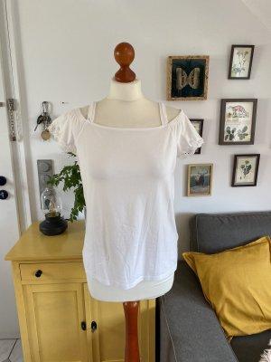 Esprit T-Shirt Creme Weiß L Häkel Basic