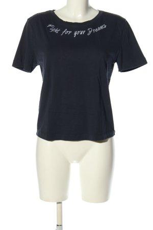 Esprit T-Shirt blau Schriftzug gedruckt Casual-Look