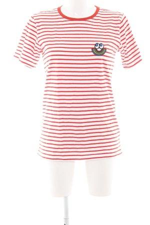 Esprit T-shirt blanc-rouge clair motif rayé style décontracté