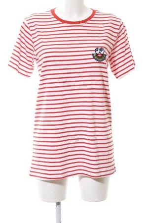 Esprit T-Shirt weiß-rot Streifenmuster Casual-Look