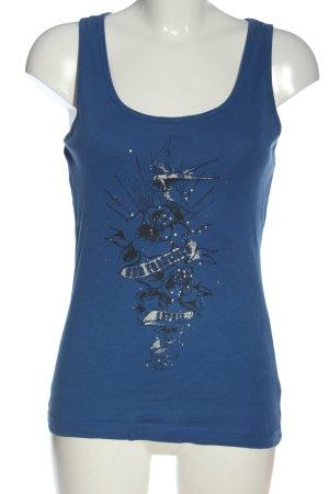 Esprit Tanktop blau-schwarz Motivdruck Casual-Look