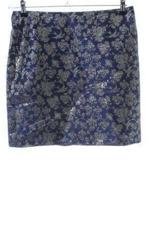 Esprit Tellerrock blau-silberfarben Blumenmuster Elegant