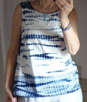 Esprit Top linea A bianco sporco-blu Cotone