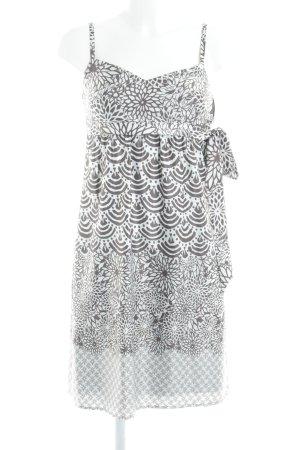 Esprit Trägerkleid weiß-graubraun abstraktes Muster Party-Look