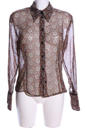 Esprit Transparenz-Bluse braun-creme abstraktes Muster Business-Look