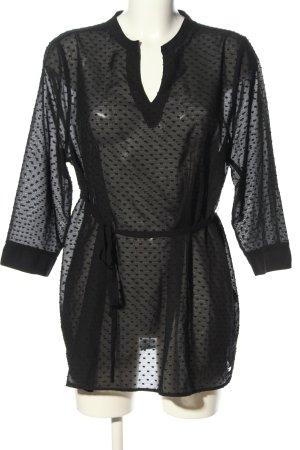 Esprit Transparenz-Bluse schwarz Webmuster Casual-Look