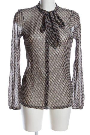 Esprit Transparenz-Bluse braun-weiß Allover-Druck Business-Look