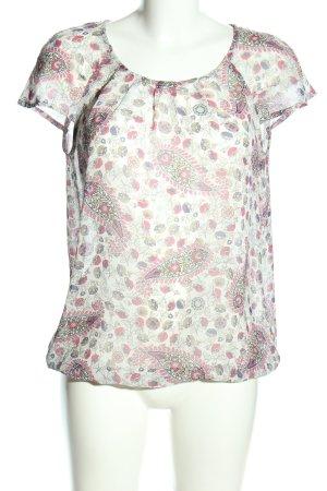 Esprit Transparenz-Bluse weiß-pink Allover-Druck Casual-Look