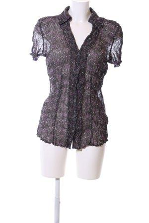 Esprit Transparenz-Bluse schwarz-pink abstraktes Muster Elegant