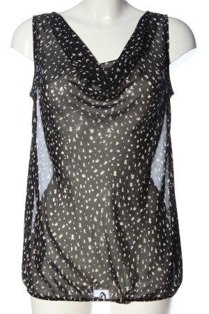 Esprit Transparenz-Bluse schwarz-weiß abstraktes Muster Casual-Look