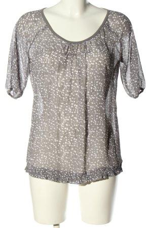 Esprit Transparenz-Bluse hellgrau-weiß Casual-Look