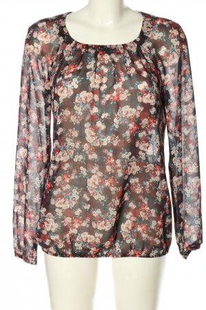Esprit Transparenz-Bluse pink-blau Allover-Druck Casual-Look