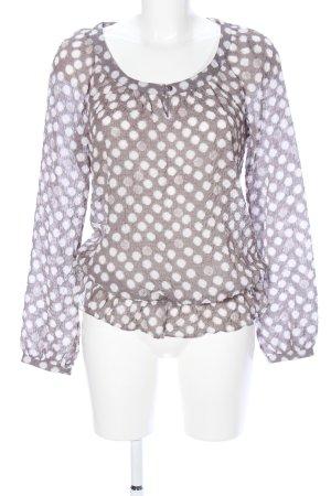 Esprit Transparenz-Bluse weiß-braun Punktemuster Casual-Look