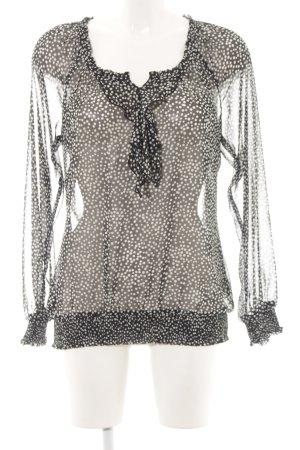 Esprit Transparenz-Bluse schwarz-weiß Punktemuster Elegant