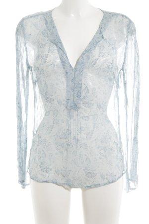 Esprit Transparenz-Bluse blau-weiß Blumenmuster Casual-Look