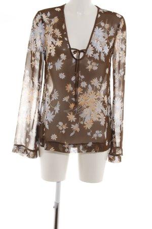 Esprit Transparenz-Bluse braun Blumenmuster Business-Look