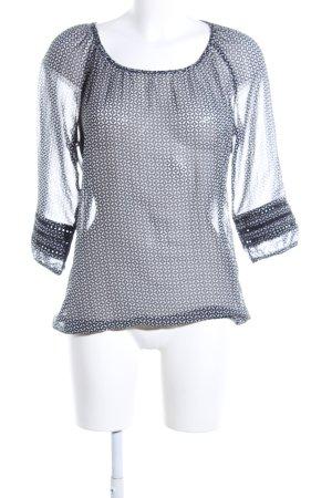 Esprit Transparenz-Bluse weiß-schwarz Allover-Druck Business-Look