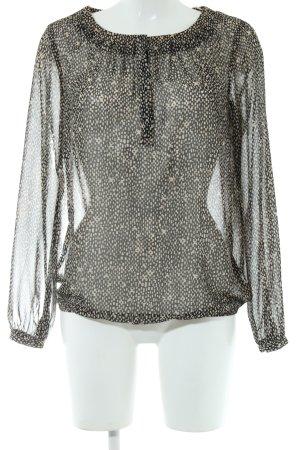 Esprit Transparenz-Bluse schwarz-creme Allover-Druck Casual-Look