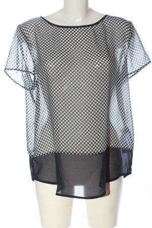 Esprit Transparenz-Bluse schwarz-weiß Allover-Druck Casual-Look