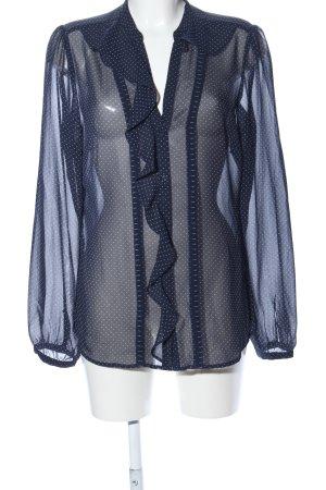 Esprit Transparenz-Bluse blau-weiß Punktemuster Elegant