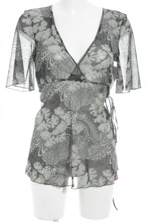 Esprit Transparenz-Bluse schwarz-grau Casual-Look