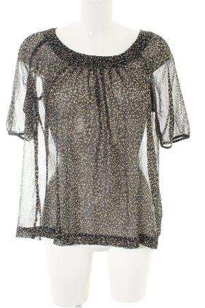 Esprit Transparenz-Bluse schwarz-wollweiß abstraktes Muster Casual-Look