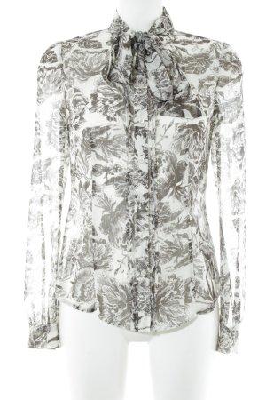 Esprit Transparenz-Bluse wollweiß-dunkelbraun Bänderverzierung