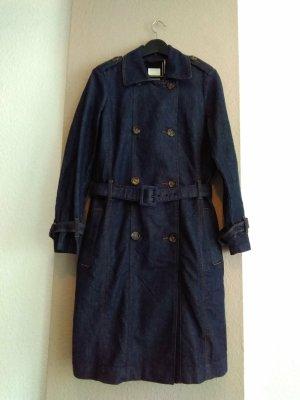 Esprit Trenchcoat mit plissiertem Detail, Jeans-Optik, Grösse S oversize, neu