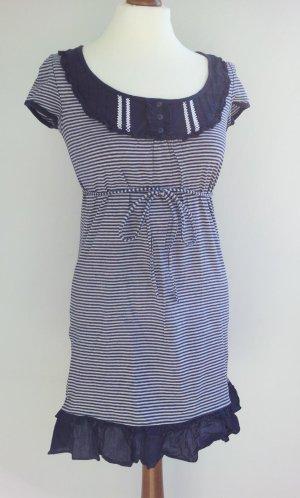 Esprit Tunika / Minikleid in S (36/38), Blau/Weiß maritim gestreift, Rüschen & Stickerei
