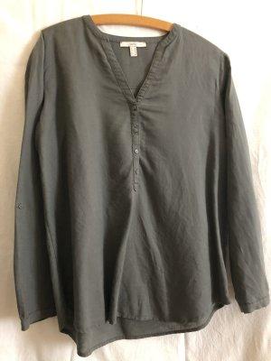 Esprit Blusa de lino caqui-gris oscuro