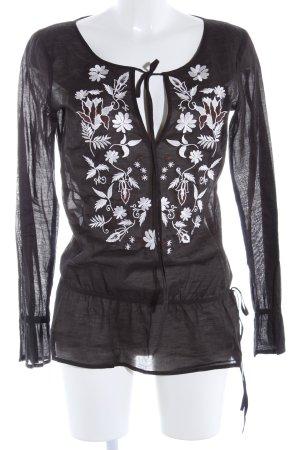 Esprit Tunikabluse schwarz Blumenmuster Casual-Look