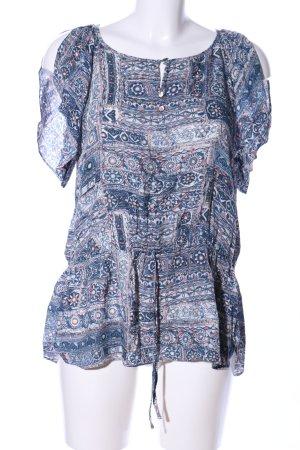 Esprit Tunikabluse blau-weiß Allover-Druck Vintage-Look